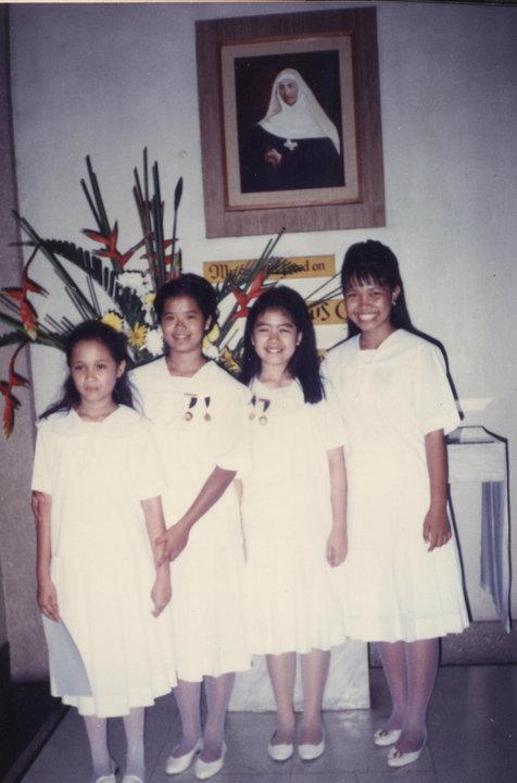 Zsa and myself during grade school graduation, along with good friends Rhiza & Janice